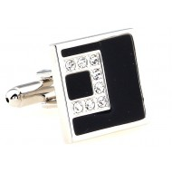 Black Square Crystal Cufflinks