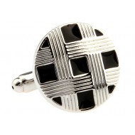 Black And Silver Button Cufflinks