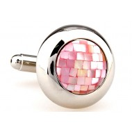 Pink Round Mother Of Pearl Cufflinks