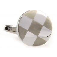 Brown And Silver Round Mother Of Pearl Cufflinks