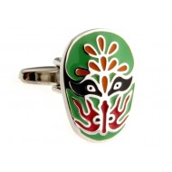 Green Paint Beijing Opera Mask Cufflinks