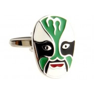 Green Beijing Opera Mask Cufflinks