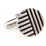 Black And Silver Stripe Cufflinks