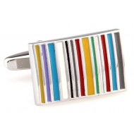 Multi-Colored Stripe Enamel Cufflinks