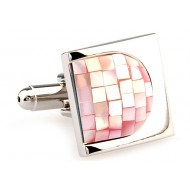 Pink Mosaic Mother Of Pearl Cufflinks