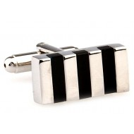 Black And Silver Rectangle Onyx Cufflinks