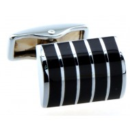 Silver and Black Stripe Cufflinks