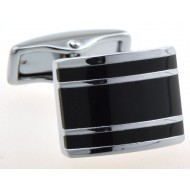 Silver Stripe Cufflinks