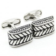 Novelty Silver And Black Cufflinks