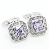 Purple and Silver Diamond Cufflinks